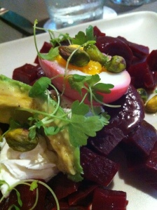 beets with goat cheese and pistacios