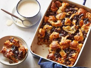 croissant-bread-pudding-with-bourbon-ice-cream-sauce