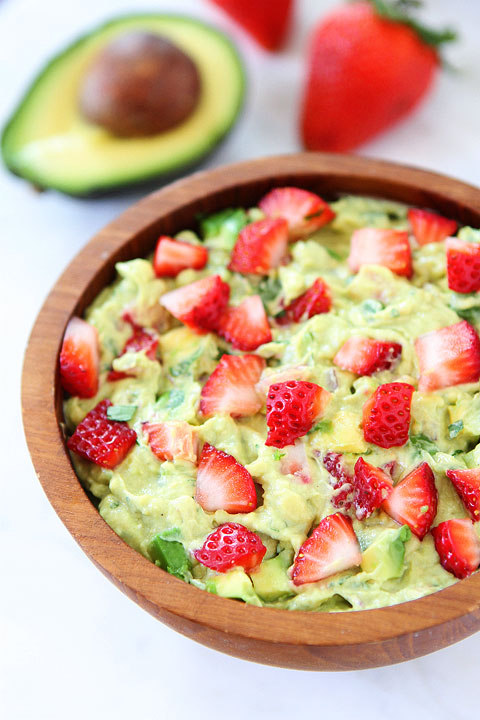 Strawberry Goat Cheese Guacamole. My friend Micheal suggested adding ...